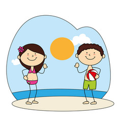 Cute kids avatars character on the beach vector