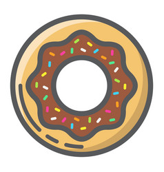 Donut filled outline icon food and drink sweet vector