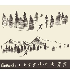Drawn man running through the forest vector image