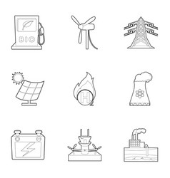 Eco energy icons set outline style vector