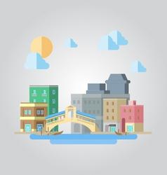Flat design of venice bridge cityscape vector image vector image