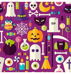 Flat purple halloween trick or treat objects vector