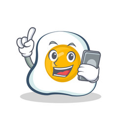 Fried egg character cartoon with phone vector