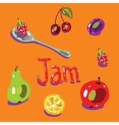 Fruit set spoon vector