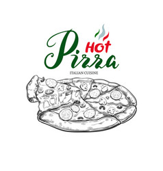 hot pizza hand drawn vector image