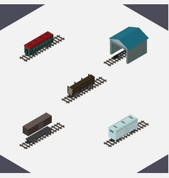 Isometric wagon set of subway vehicle depot vector