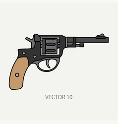 Line flat color military icon revolver vector