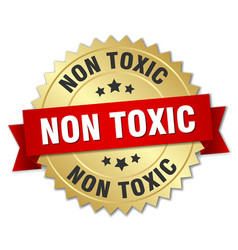 non toxic round isolated gold badge vector image