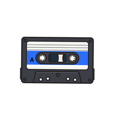 Old fashioned audio cassette tape from 90s vector