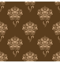 Oriental dainty paisley flowers seamless pattern vector