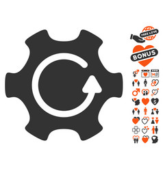 rotate gear icon with valentine bonus vector image