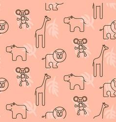 Safari animals kid seamless pattern vector