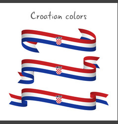 set of three ribbons with the croatian tricolor vector image vector image