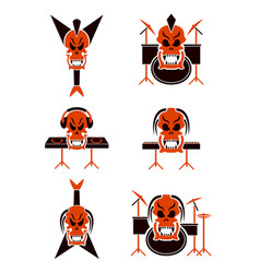 skull music tribal tattoo set vector image vector image
