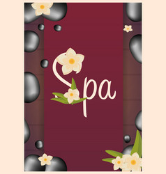 Spa salon poster with stones thai massage wood vector