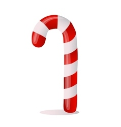 Traditional christmas candy cane on white vector