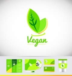 Vegan logo icon design vector