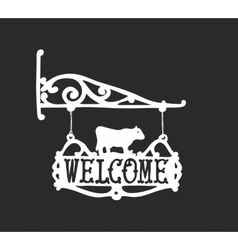 Vintage sign with cow for outdoor advertisment vector