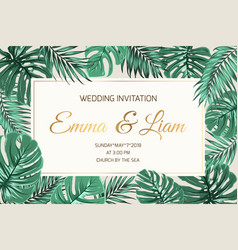wedding invitation exotic green leaves golden text vector image vector image