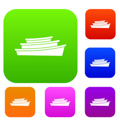 Wooden boat set collection vector