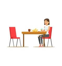 Woman having sweet lunch drinking coffee and vector