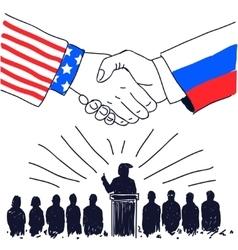 Partnership usa and russia vector
