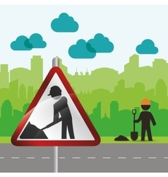 Road sign worker way urban green silhouette vector