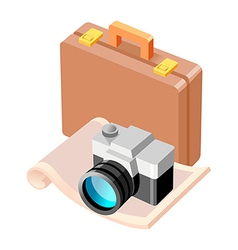 Icon suitcase and camera vector