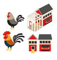 Chicken coop set vector