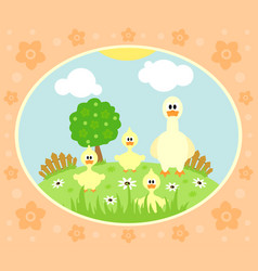 Farm background with funny goose vector