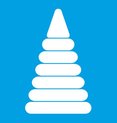 Pyramid built from plastic rings icon white vector