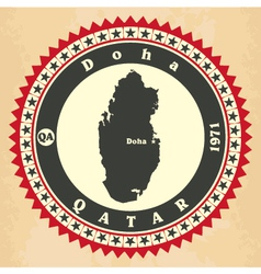 Vintage label-sticker cards of qatar vector