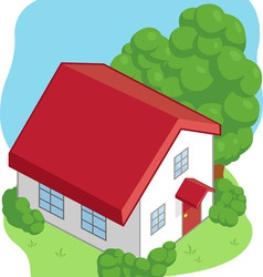 Isometric cartoon house vector