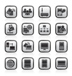 Communication and technology equipment icons vector image