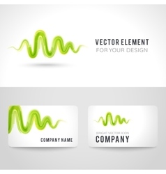Business card template set abstract green wave vector