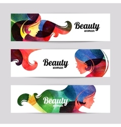 Set of banners with watercolor beautiful girl vector