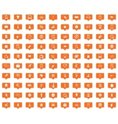 Shop orange message icons set vector