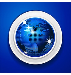 Blue world globe on white frame vector