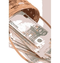 European money on wooden basket vector