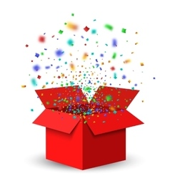 Open red gift box and confetti vector