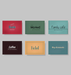 a set of templates labels cards on different vector image vector image