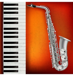 abstract grunge red background with saxophone and vector image vector image