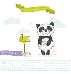 Baby shower card - baby panda with mailbox vector
