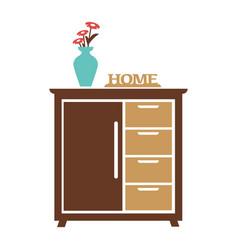 brown cupboard with blue flower vase carved sign vector image