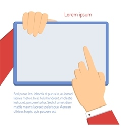 businessman pointing to laptop vector image