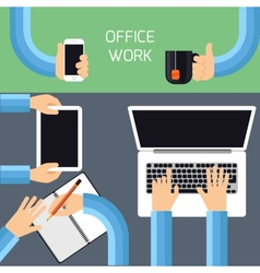 Businessmen hands with different office activities vector image