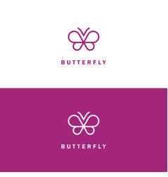 butterfly mono line logo vector image vector image