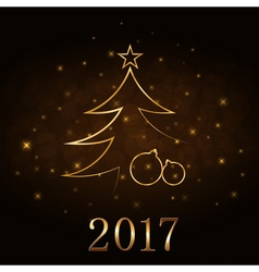 Christmas tree Happy New Year gold background vector image vector image