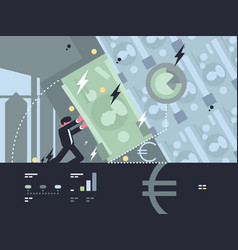 collapse and fall of bank vector image
