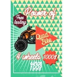 Color vintage quad bike poster vector